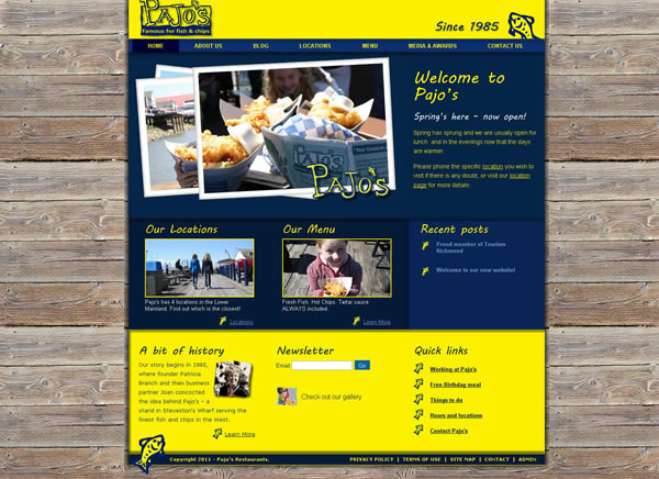 Pajos website design