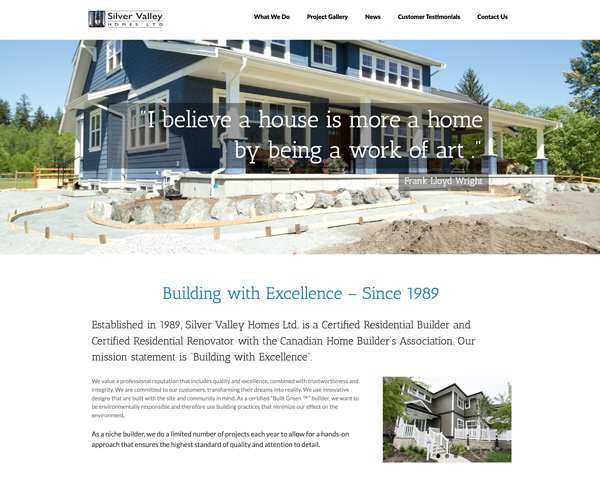 Silver Valley Homes Website Redesign