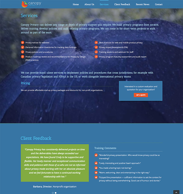 website design canopy privacy
